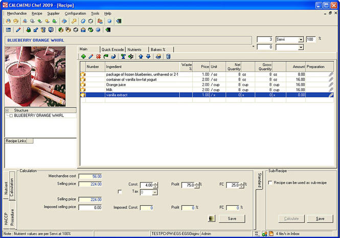 CALCMENU CHEF 2006 Screenshot