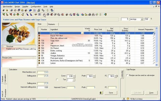 CALCMENU CHEF 2006 Screenshot 2