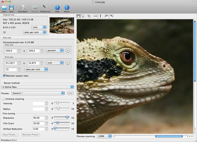 PhotoZoom Pro 4 for Mac Screenshot