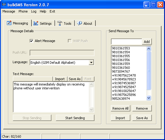 bulkSMS - SMS & WAP Push Software Screenshot