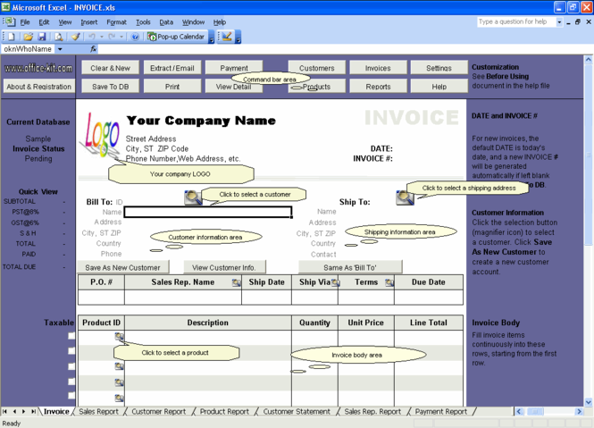 Excel Invoice Manager Express Screenshot