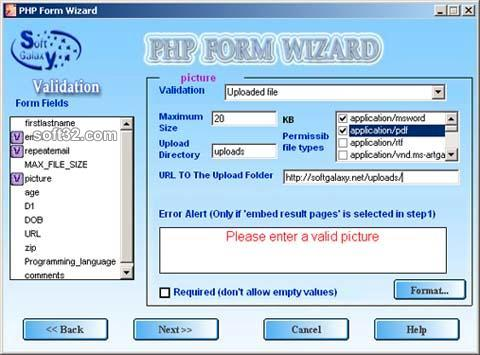 php form wizard Screenshot