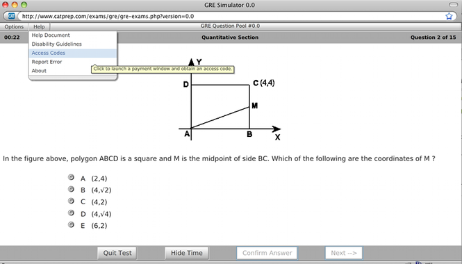 GRE Test Simulator Screenshot 1