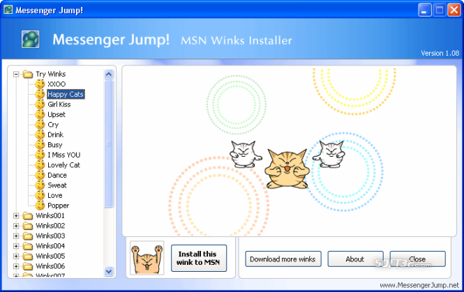 Messenger Jump! MSN Winks Installer Screenshot 3