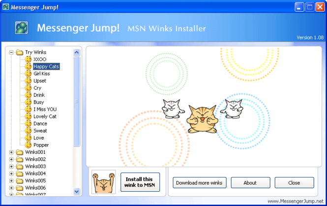Messenger Jump! MSN Winks Installer Screenshot 1