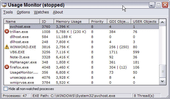 Usage Monitor Screenshot