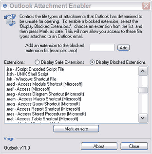 Outlook Attachment Enabler Screenshot