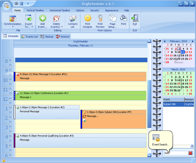 OrgScheduler Screenshot 1