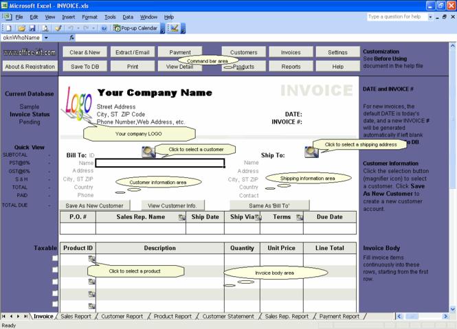Excel Invoice Manager Platinum Screenshot 1