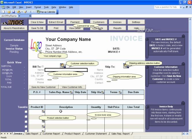 Excel Invoice Manager Platinum Screenshot 2