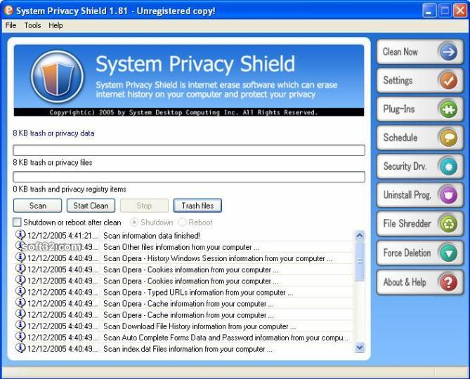 System Privacy Shield Screenshot 1
