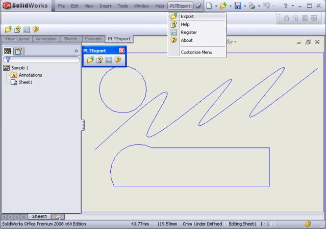 PLT Export for SolidWorks Screenshot