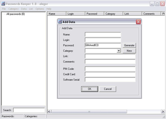 Passwords Keeper Screenshot 1