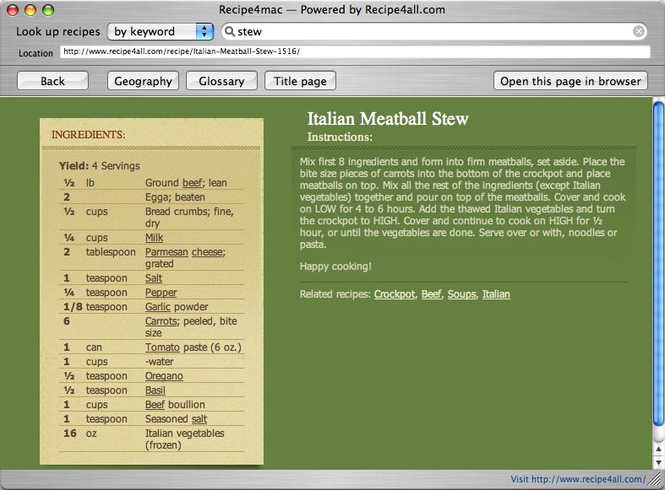Recipe4mac Screenshot