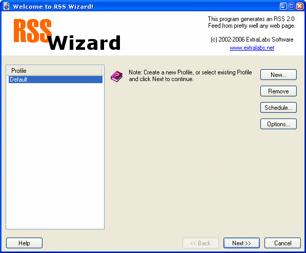 RSS Wizard Screenshot 1