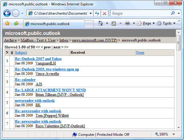 HTML Email Archiver for Outlook Screenshot 1