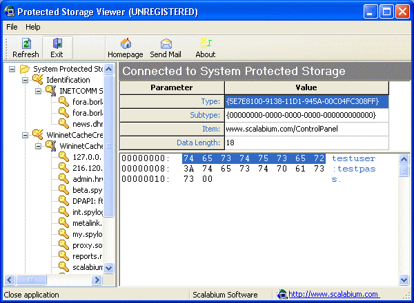 Protected Storage viewer Screenshot 1