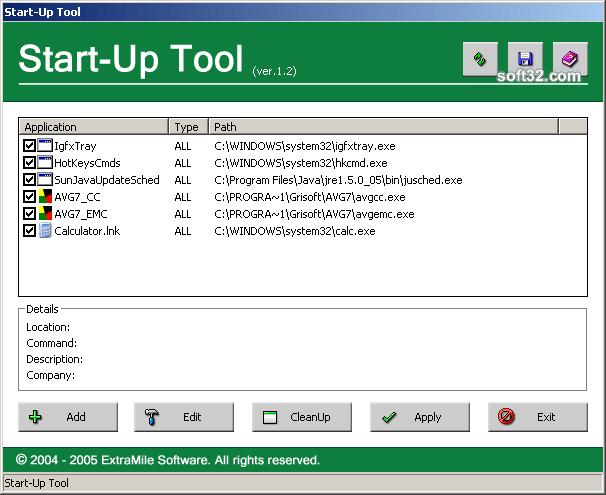 StartUp Tool Screenshot
