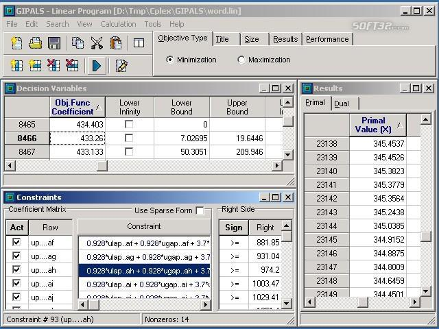 GIPALS32 - Linear Programming Library Screenshot 3