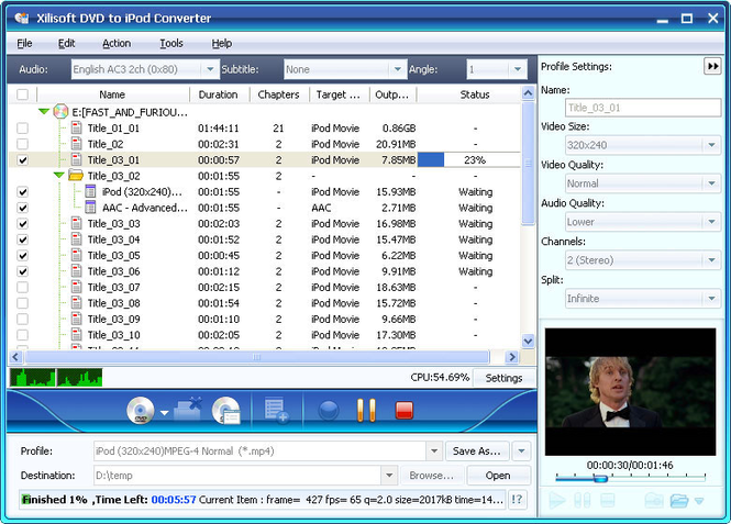 Xilisoft DVD to iPod Suite Screenshot 3