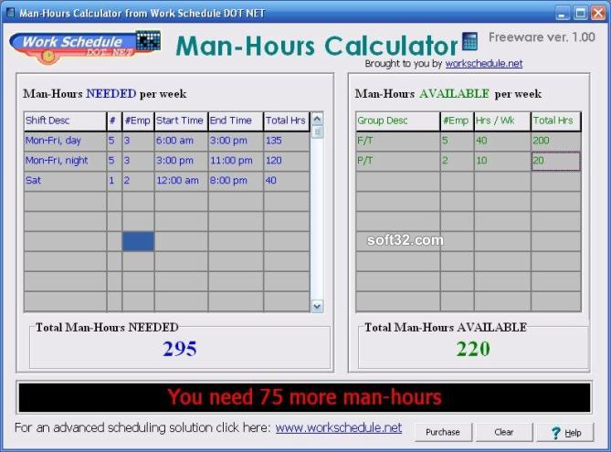 Man-Hours Calculator Screenshot 3