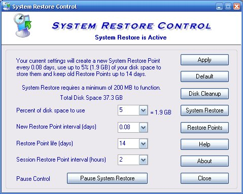 System Restore Control Screenshot