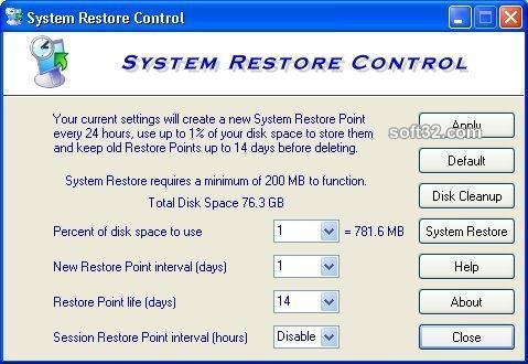 System Restore Control Screenshot 3