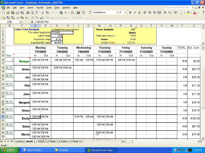 Employee Scheduler for Excel and OpenOffice Screenshot