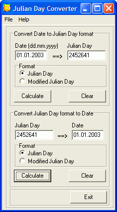 Julian Day Converter Screenshot