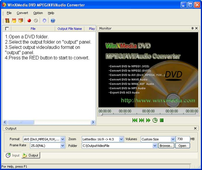 WinXMedia DVD MPEG/AVI/Audio Converter Screenshot 1