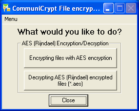 CommuniCrypt File Encryption Tools Screenshot