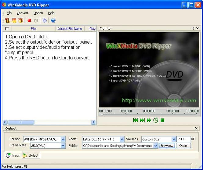 WinXMedia DVD Ripper Screenshot