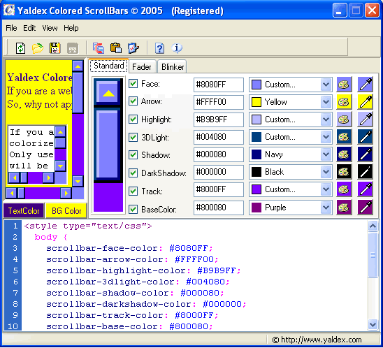 Yaldex Colored ScrollBars 2.0 Screenshot 1