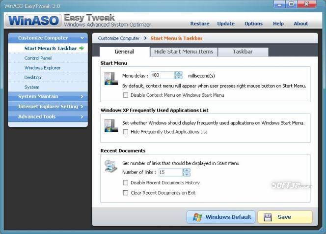 WinASO EasyTweak Screenshot 2