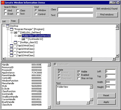 Window Information Screenshot