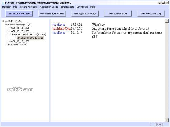 PCSentinel's Busted: Keylogger and Instant Message Monitor Screenshot