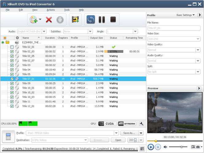 Xilisoft DVD to iPod Converter Screenshot