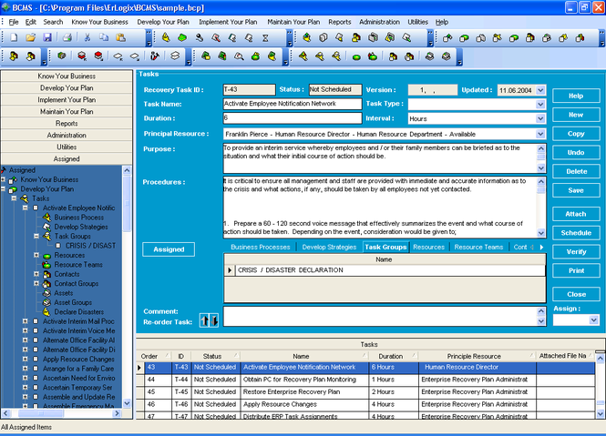 Erlogix Business Continuity Software Screenshot 1