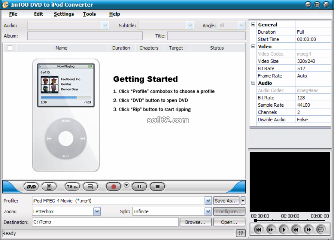ImTOO DVD to iPod Converter Screenshot 2