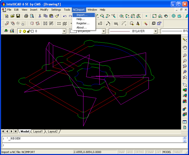 NC Import for IntelliCAD Screenshot
