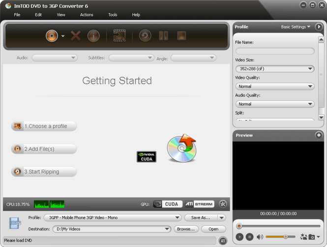 ImTOO DVD to 3GP Converter Screenshot 1