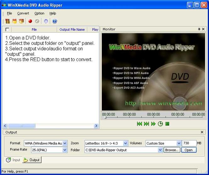 WinXMedia DVD Audio Ripper Screenshot
