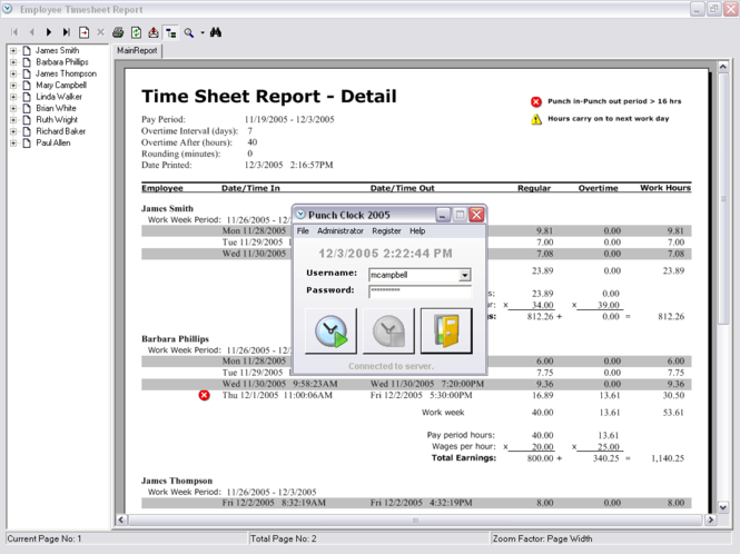 Punch Clock 2005 Screenshot