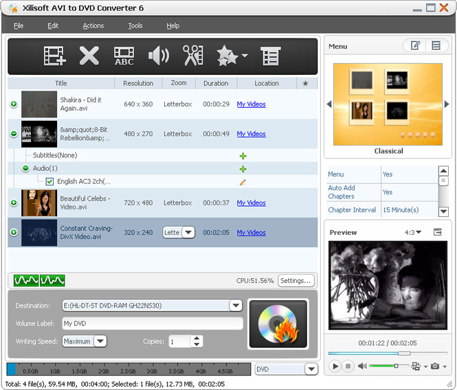 Xilisoft AVI to DVD Converter Screenshot