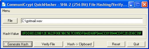 CommuniCrypt QuickHasher Screenshot 1