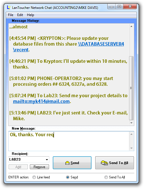 LanToucher Network Chat Screenshot