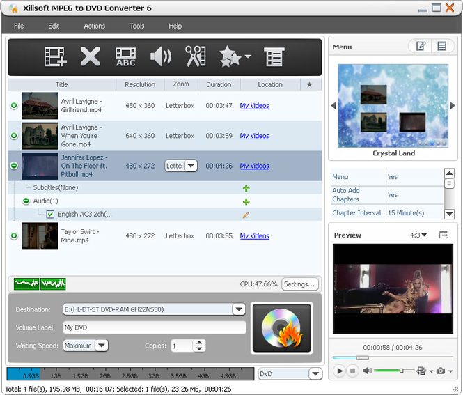Xilisoft MPEG to DVD Converter Screenshot