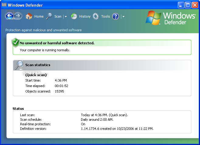 Microsoft Windows Defender Screenshot