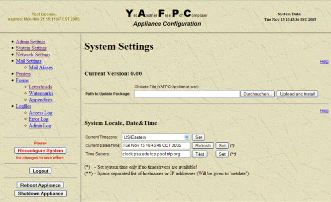 YAFPC-Appliance Screenshot