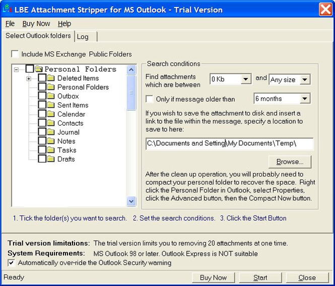 LBE Attachment Stripper for MS Outlook Screenshot